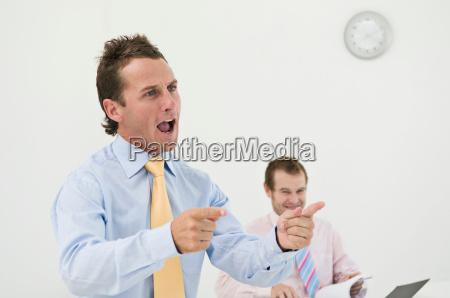 business man giving a talk