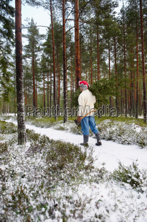 man with christmas tree in forest