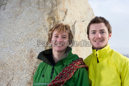 close up portrait of 2 climbers