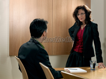 business meeting woman standing