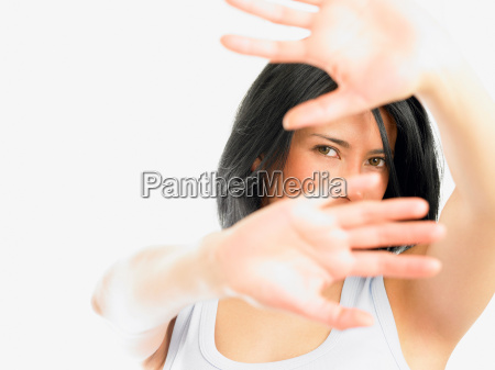 woman with hands in the way