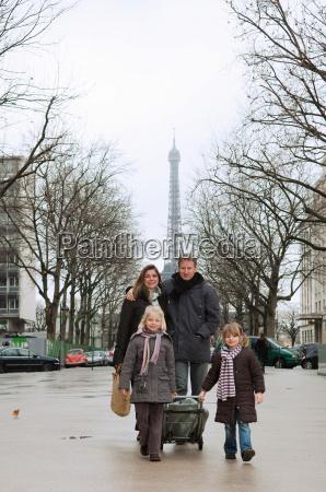 family going to market