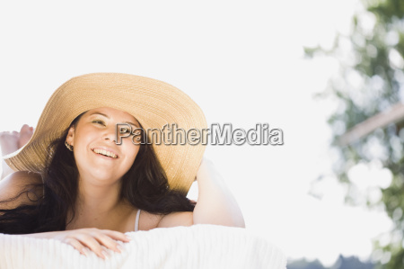 young plump girl lying on a