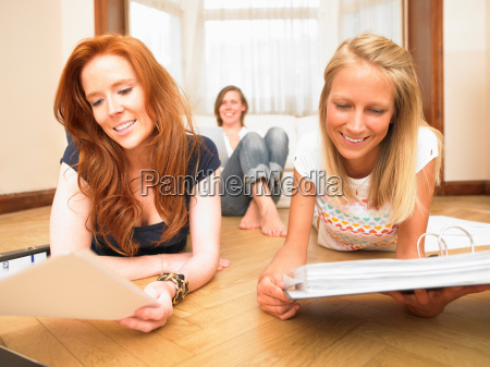 young women studying