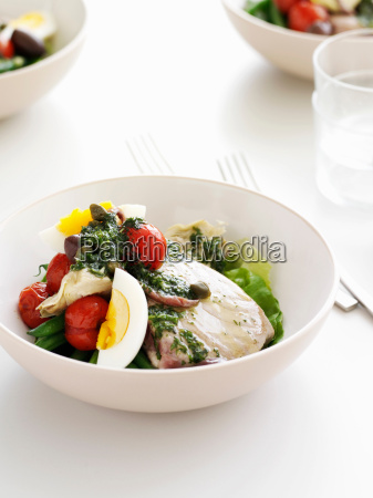 bowl of eggs with vegetables and