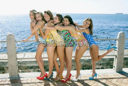 girls wearing retro swimming costumes