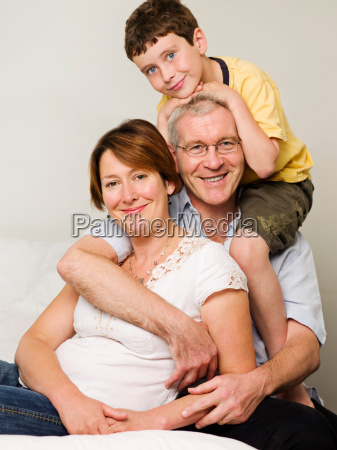 portrait of a mother father and