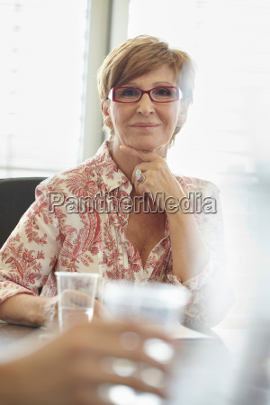 smiling middle aged career woman