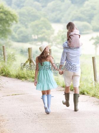 family walking together on lane