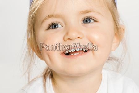 close up of smiling toddler girl