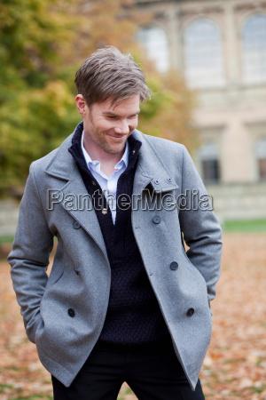 man in autumn city atmosphere