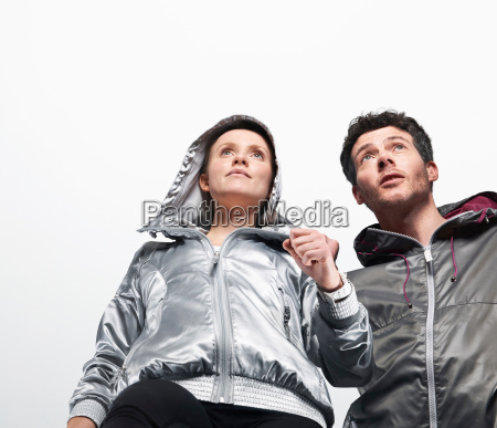 low angle view of couple jogging