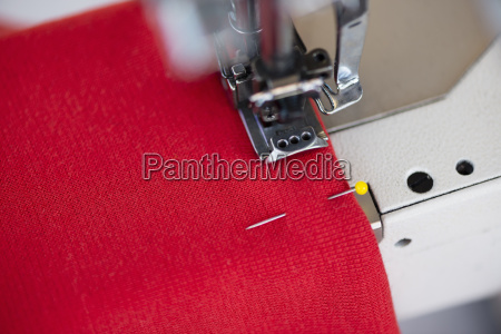 close up of sewing machine and