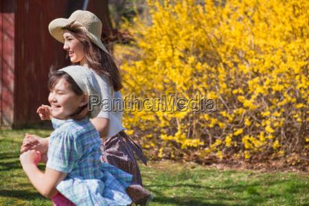 girls running in spring
