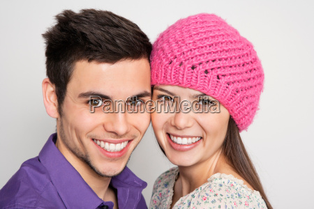 smiling couple standing together