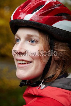 close up of girl wearing cycle