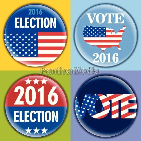 election 2016 badge set with unites