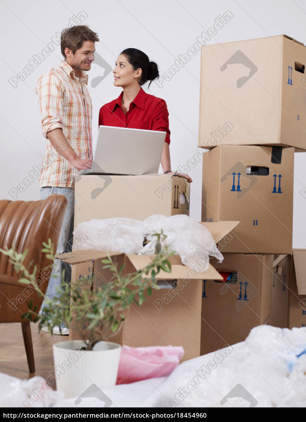young, couple, with, boxes, and, laptop - 18454960