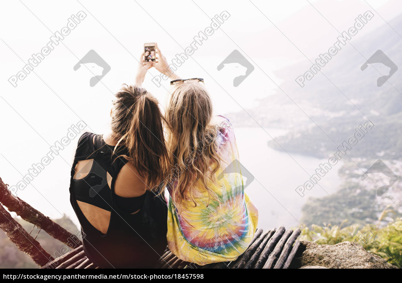 rear, view, of, two, female, friends - 18457598
