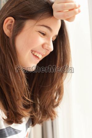 portrait of teenage girl smiling