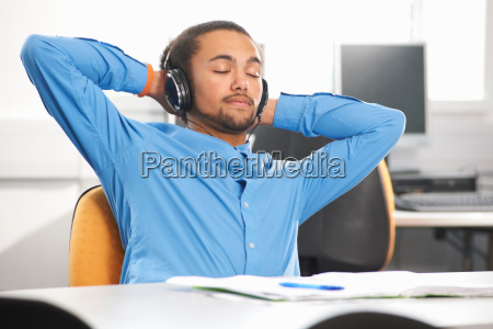 young man wearing headphones