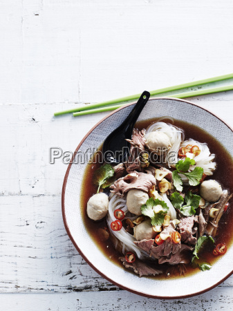 overhead view of boat noodles in