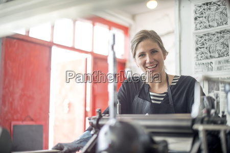 portrait of female printer with traditional