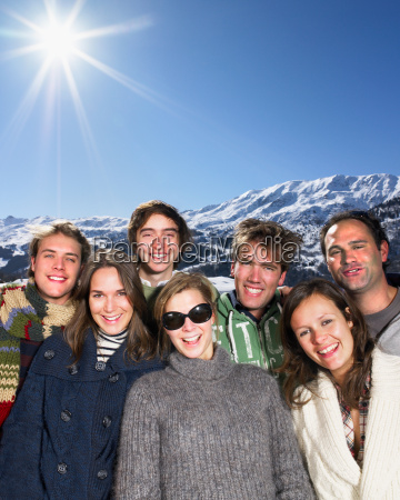 smiling group at mountains