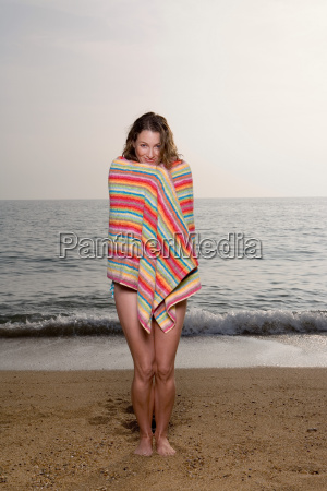 woman with a towel on the