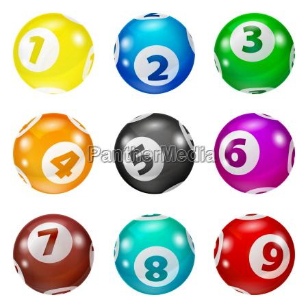 satz von lotterie farbige zahlenkugeln