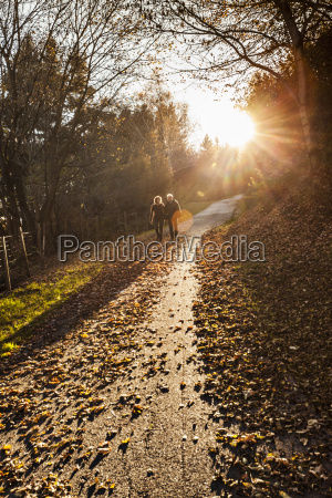 senior couple strolling along sunlit forest