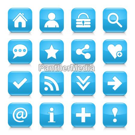 blue basic sign rounded square icon