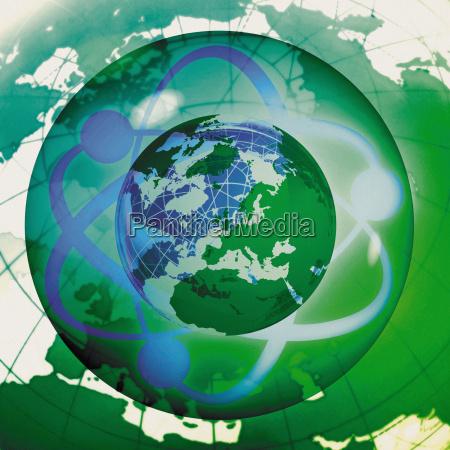 elektronik wissenschaft illustration atom globus planet