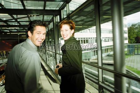 business people in corridor