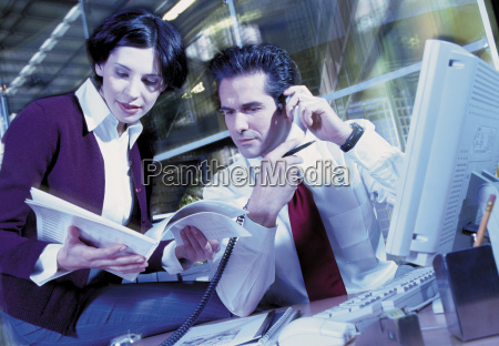 business couple reading