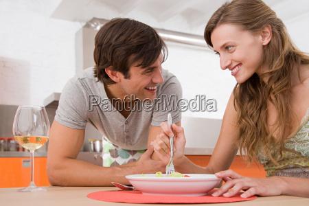 a couple having dinner