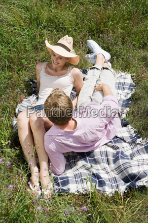 couple on a blanket in a