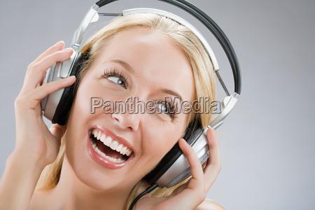 a woman wearing headphones