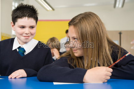 boy and girl in class