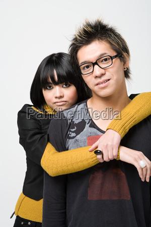 japanese couple hugging