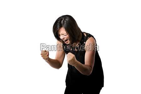 portrait of a young woman shouting