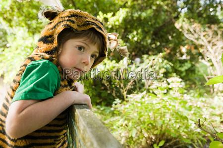 boy dressed up as tiger
