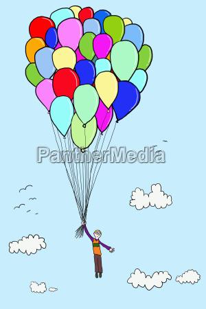 junge schwimmen mit ballons illustration