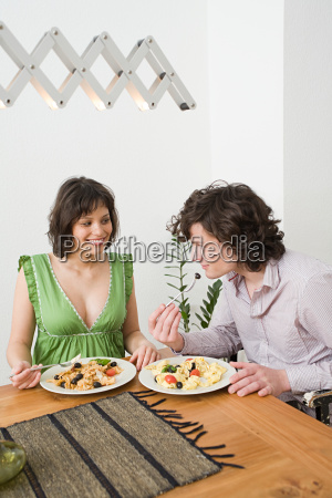 young couple having a meal