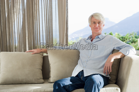 portrait of middle aged man sitting