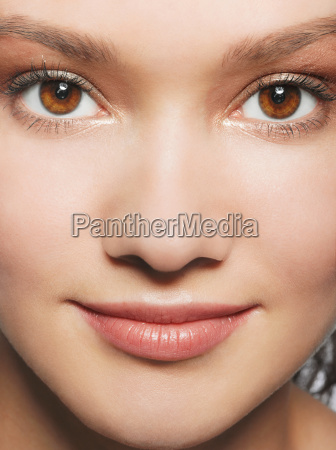 close up of young womans face