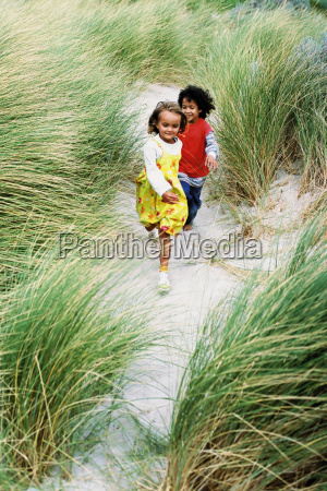 boy and girl playing on a