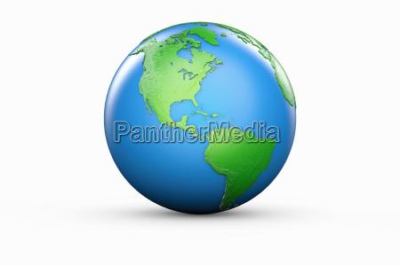 blauer und gruener globus von nord