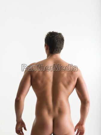 rear view of nude man