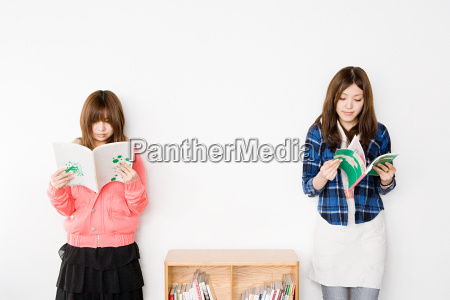 young women reading books